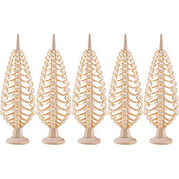 Seiffen Wood chip tree set of 5  -  10cm / 3.9inch