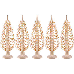 Seiffen Wood chip tree set of 5  -  12cm / 4.7inch