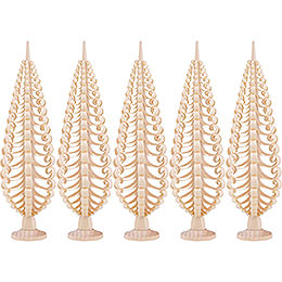 Seiffen Wood chip tree set of 5  -  20cm / 7.9inch