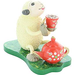 "Sheep ""Muggefugi"", trinking coffee  -  5cm / 2inch"