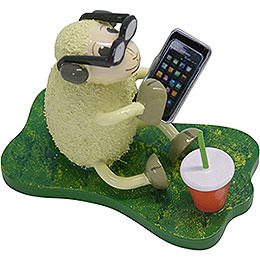 """Sheep """"Smarty"""", with Smartphone and Glasses  -  5,5cm / 2.2 inch"""