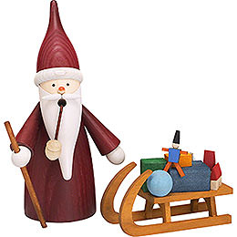 Smoker Christmas Gnome with sleigh  -  16cm / 6 inch