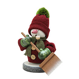 Smoker Snowman with Snow Shovel  -  23,5cm / 9 inch