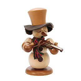 Smoker Snowman with Violin natural  -  23,5cm / 9inch
