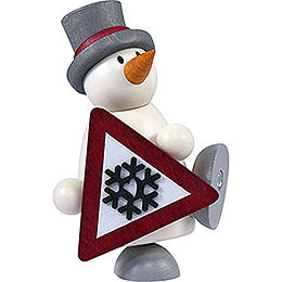 Snow man Fritz with sign    -  9cm / 3.5inch