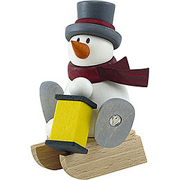 Snow man Otto with lantern with sleigh  -  8cm / 3.1inch