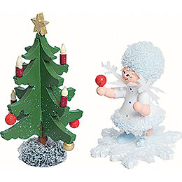 Snowflake with Fir Tree  -  5cm / 2 inch