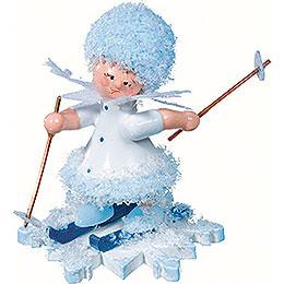 Snowflake with ski  -  5cm / 2inch