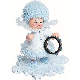 Snowflake with tambourine  -  5cm / 2inch