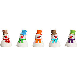Snowman teeter classic, set of 5  -  4cm / 1.6inch