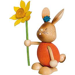 Snubby Bunny with flower  -  12cm / 4.7inch