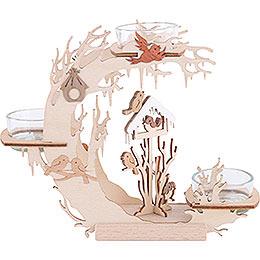Tealight candle holder bird house  -  15cm / 6 inch