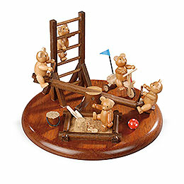 Theme platform for electr. Music Box 'Bear playground'  -  15cm / 5.9inch