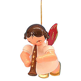 Tree Ornament  -  Angel with Clarinet  -  Red Wings  -  Floating  -  5,5cm / 2,1 inch