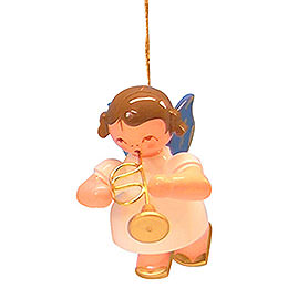 Tree Ornament  -  Angel with Flugelhorn  -  Blue Wings  -  Floating  -  5,5cm / 2,1 inch