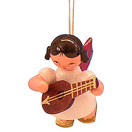 Tree Ornament  -  Angel with Mandolin  -  Red Wings  -  Floating  -  5,5cm / 2,1 inch