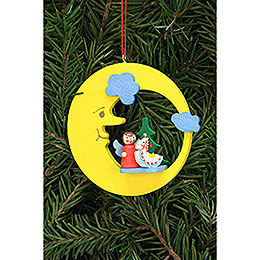 Tree Ornament  -  Angel with Toy in Moon  -  8,3x7,9cm / 3.3x3.1 inch