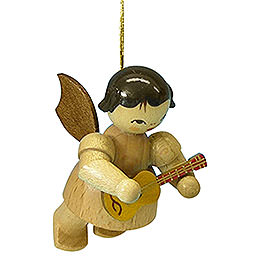 Tree Ornament  -  Angel with Ukulele  -  Natural Colors  -  Floating  -  5,5cm / 2,1 inch