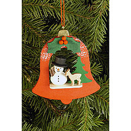 Tree Ornament  -  Bell with Snowman  -  7,1x7,9cm / 2.8x3.1 inch