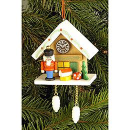 Tree Ornament  -  Cuckoo Clock Brown with Nutcracker  -  6,7x6,3cm / 2.6x2.5 inch