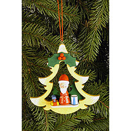 Tree Ornament  -  Fir Tree with Santa Claus  -  8,5x8,7cm / 3.3x3.4 inch