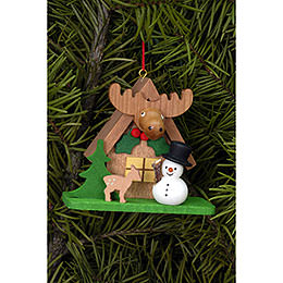 Tree Ornament  -  Forest House with Snowman  -  7,1x6,2cm / 2.8x2.4 inch