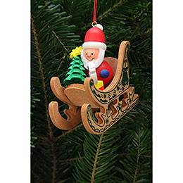 Tree Ornament  -  Santa Claus in Sleigh  -  7,5x7,1cm / 3x3 inch
