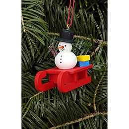 Tree Ornament  -  Sleigh with Snowman  -  5,2x4,5cm / 2.0x1.8 inch