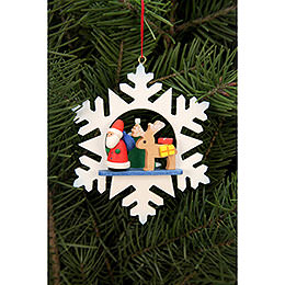 Tree Ornament  -  Snowflake Santa with Reindeer  -  9,0x9,0cm / 3.5x3.5 inch