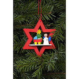 Tree ornament Angel in Star with Dolls pram  -  6,8 x 7,8cm / 3 x 3 i