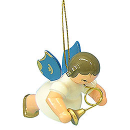 Tree ornament Angel with French horn  -  Blue Wings  -  floating  -  5,5cm / 2,1 inch