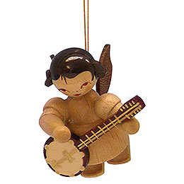 Tree ornament Angel with banjo  -  natural colors  -  floating  -  5,5cm / 2,1 inch