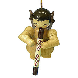 Tree ornament Angel with didgeridoo  -  natural colors  -  floating  -  5,5cm / 2,1 inch