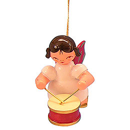 Tree ornament Angel with drum  -  Red Wings  -  floating  -  5,5cm / 2,1 inch