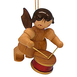 Tree ornament Angel with drum  -  natural colors  -  floating  -  5,5cm / 2,1 inch