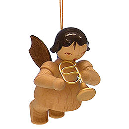 Tree ornament Angel with flugelhorn  -  natural colors  -  floating  -  5,5cm / 2,1 inch