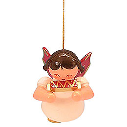 Tree ornament Angel with harmonica  -  Red Wings  -  floating  -  5,5cm / 2,1 inch