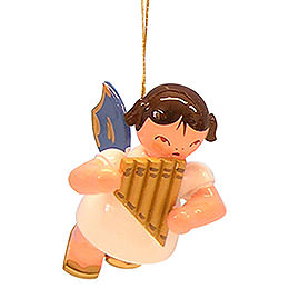 Tree ornament Angel with pan pipe  -  Blue Wings  -  floating  -  5,5cm / 2,1 inch