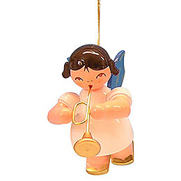 Tree ornament Angel with trumpet  -  Blue Wings  -  floating  -  5,5cm / 2,1 inch