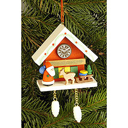Tree ornament Cuckoo Clock red with Niko  -  6,7 x 6,3cm / 2.6 x 2.5inch