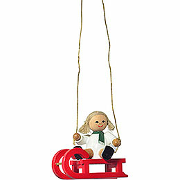 "Tree ornament ""Doll on sleigh""  -  5cm / 2inch"