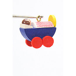 Tree ornament Dolls pram  -  2,4 / 2,3cm  -  1 x 1 inch