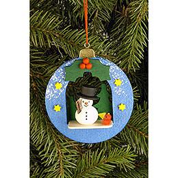Tree ornament Globe with Snowman  -  6,7 x 7,4cm / 2.6 x 2.9inch