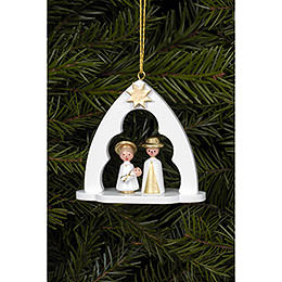 Tree ornament Holy Family white  -  6,5 x 6,2cm / 2.5 x 2.4inch