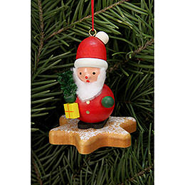 Tree ornament  -  Santa Claus on Ginger Bread star  -  5,2 x 5,9cm / 2x2 inch