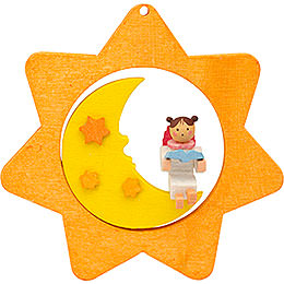 Tree ornament Star - Moon - Angel with book  -  8cm / 3.1inch