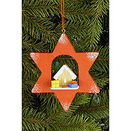 Tree ornament Star with Ginger Bread  -  9,5 x 9,5cm / 3.7 x 3.7inch