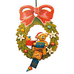 Tree ornament Teddy Christmas wreath 10cm / 4inch