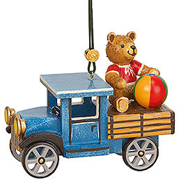 Tree ornament Truck with teddy  -  5cm / 2inch