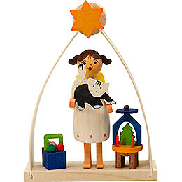 Tree ornament angel in arch with cat  -  8cm / 3.1inch